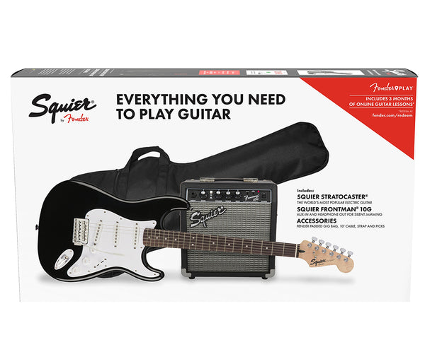 Squier Stratocaster Pack, Black Guitar with Frontman 10G Amplifier