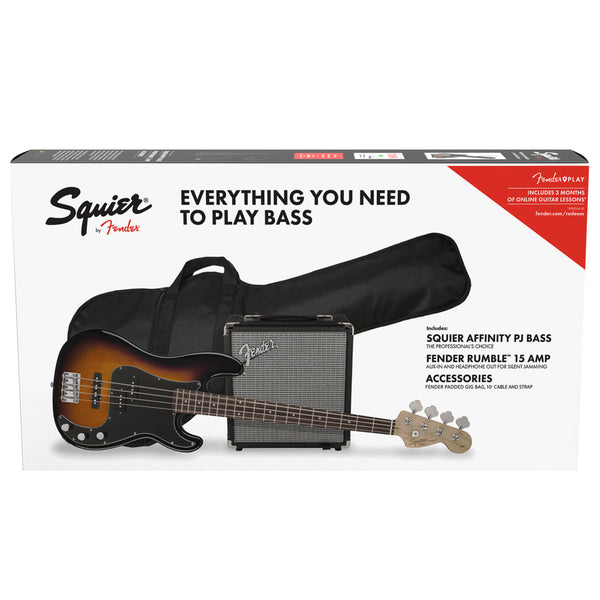 Squier Affinity Series Precision Bass PJ Pack in Brown Sunburst