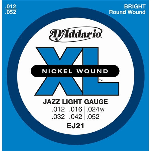 EJ21 Nickel Wound Electric Guitar Strings - Jazz Light 12-52