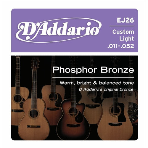 EJ26 Phosphor Bronze Acoustic Guitar Strings - Custom Light 11-52