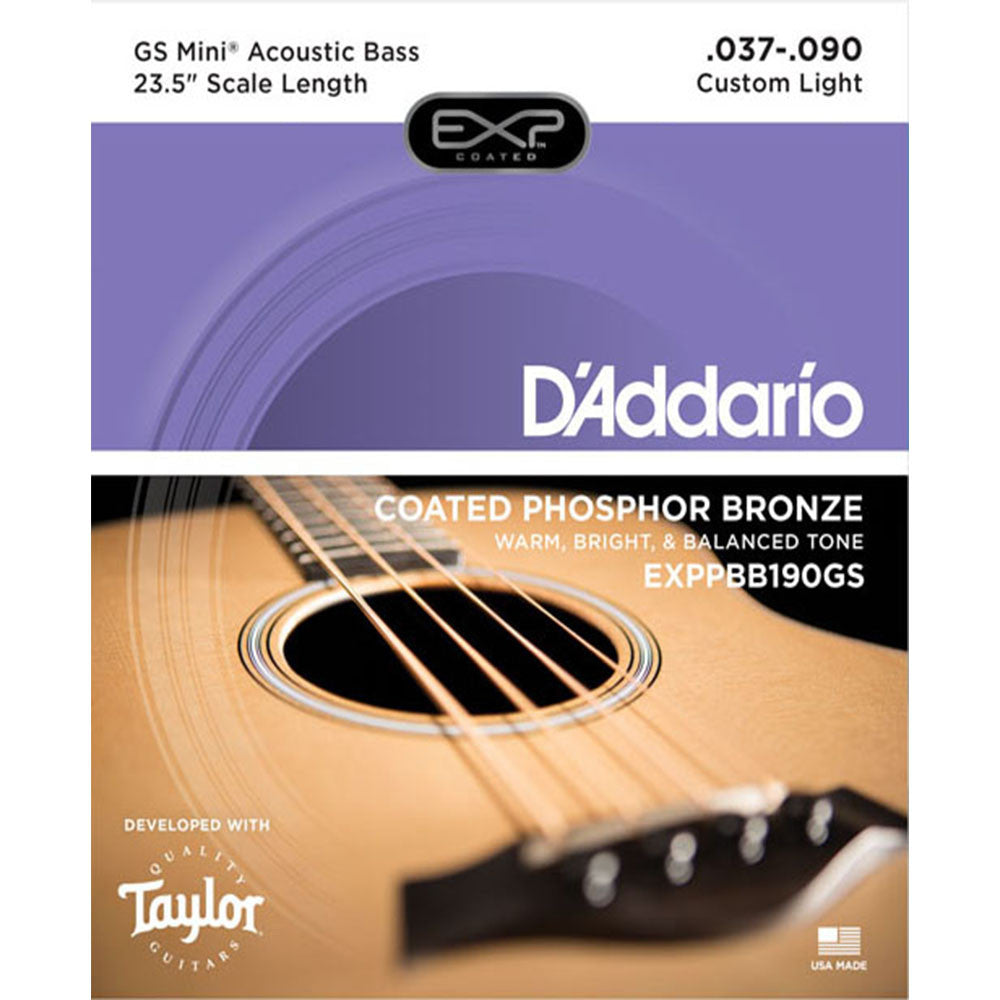 D'Addario EXPPBB190GS Coated Phosphor Bronze Acoustic Bass Strings for Taylor GS-Mini Bass