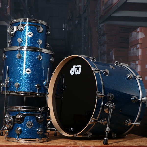 DW Collector's Series 4-Piece Maple Shell Kit in Blue Glass, Chrome Hardware
