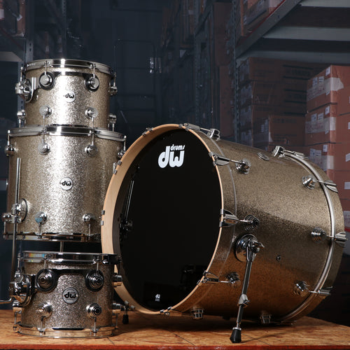 DW Collectors Series 4 Piece Maple Shell Kit in Nickel Sparkle Glass