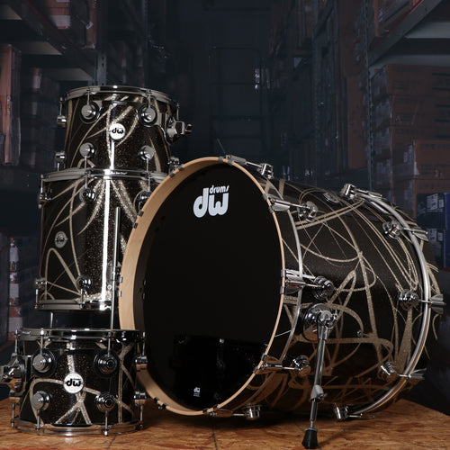 DW Collectors Series 4 Piece Maple Shell Kit in Smoke Glass Contrail