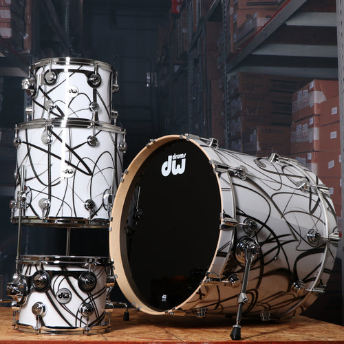 DW Collectors Series 4 Piece Maple Shell Kit in White Glass Contrail