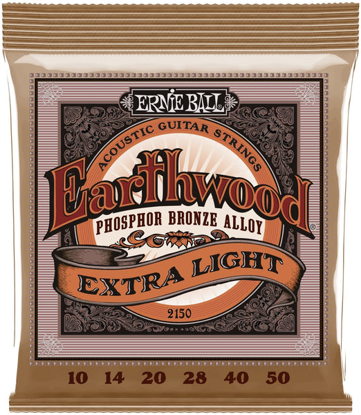 Ernie Ball 2150 Earthwood Extra Light Phosphor Bronze Acoustic Guitar Strings; 10-50