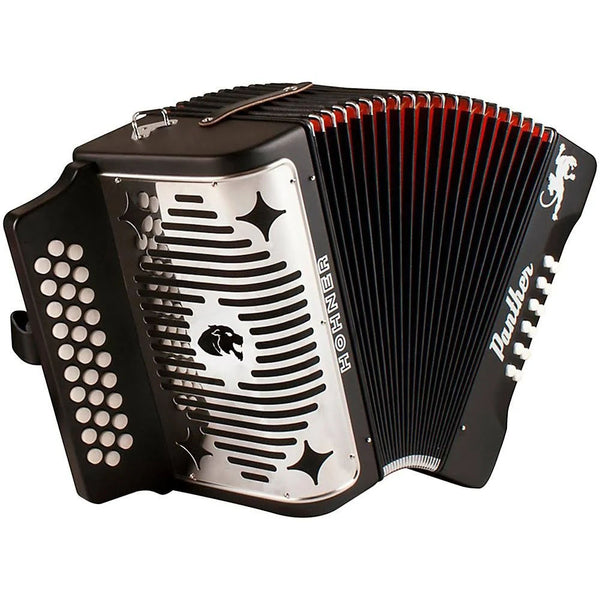 Hohner 3100FB Panther Diatonic 3-Row Accordion F B-Flat E-Flat in Black