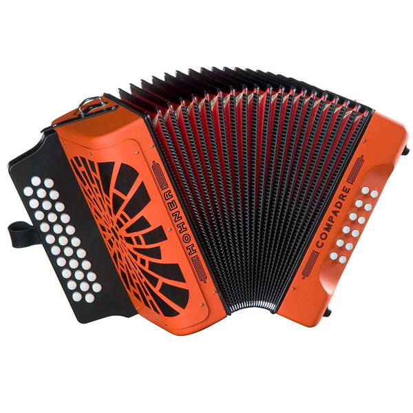 Hohner COGO Compadre GCF Button Accordion in Orange with Bag