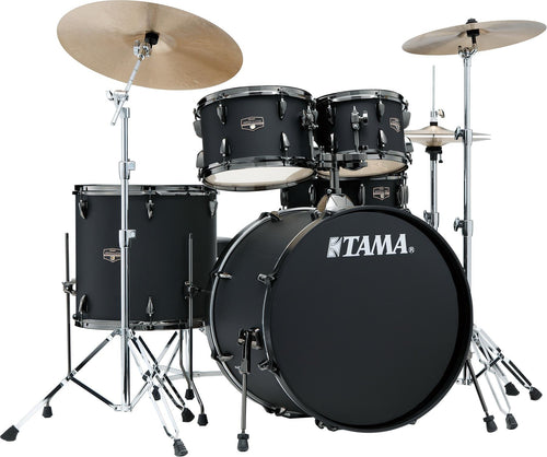 Tama Imperialstar 5-Piece Drum Kit in Blacked Out Black, 22-Inch Kick