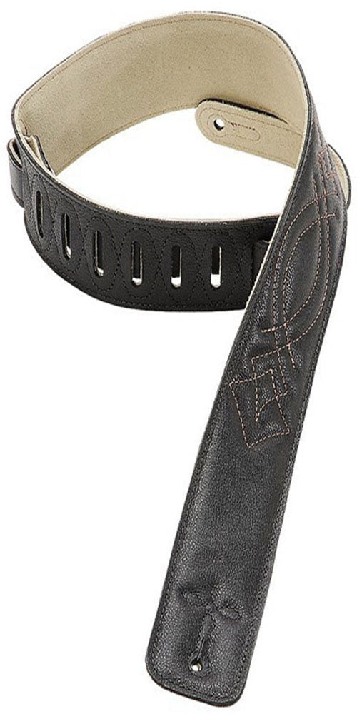 Levy's Leathers DM1SG-BLK 2.5 Inch Leather Guitar Strap