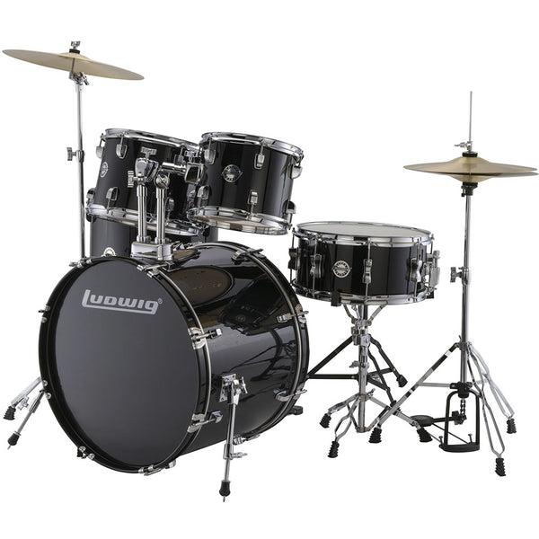 Ludwig Accent Drive Series 5 Piece Complete Drum Set - Black with Hardware and Cymbals
