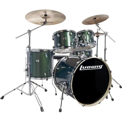 Ludwig Evolution 5-Piece Complete Drum Kit in Emerald Sparkle with Hardware and Cymbals