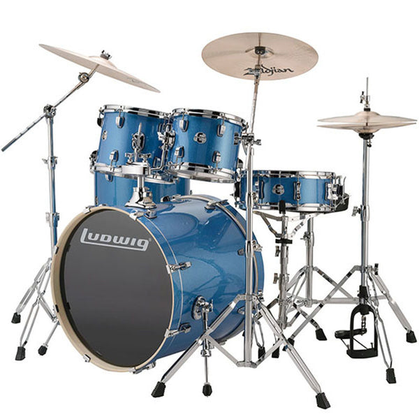 Ludwig Evolution Blue Sparkle 5-Piece Drum Kit with Hardware and Cymbals