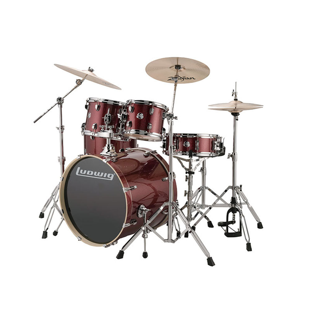 Ludwig Evolution 5-Piece Drum Kit in Red Sparkle with Hardware and Cymbals