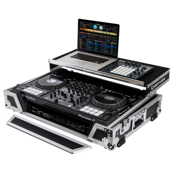 Odyssey FZGSDDJ1000W1 Flight Case with 1U Rack Space and Glide Platform for Pioneer DDJ-1000SRT - Ken Stanton Music