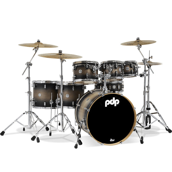 PDP PDCM2217SCB Concept Maple 7-Piece Drum Kit in Satin Charcoal Burst