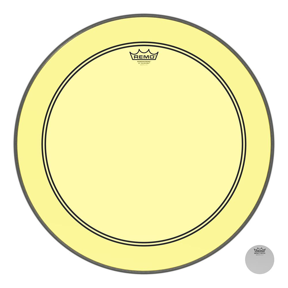 REMO P31322CTYE Powerstroke P3 Colortone Yellow Bass Drumhead, 22