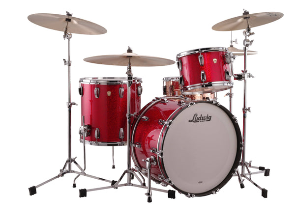Ludwig L7342AX27WC Classic Oak FAB 3-Piece Shell Kit Red Sparkle