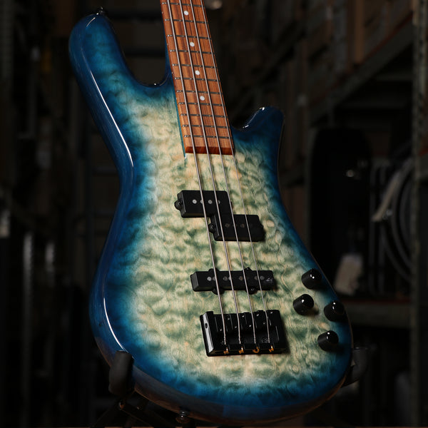 Spector Legend 4 Neck-Thru Bass Guitar in Faded Blue Gloss with Gig Bag