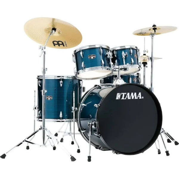 Tama Imperialstar 5 Piece Complete Kit with Meinl HCS Cymbals Hairline Blue 22 inch Bass Drum