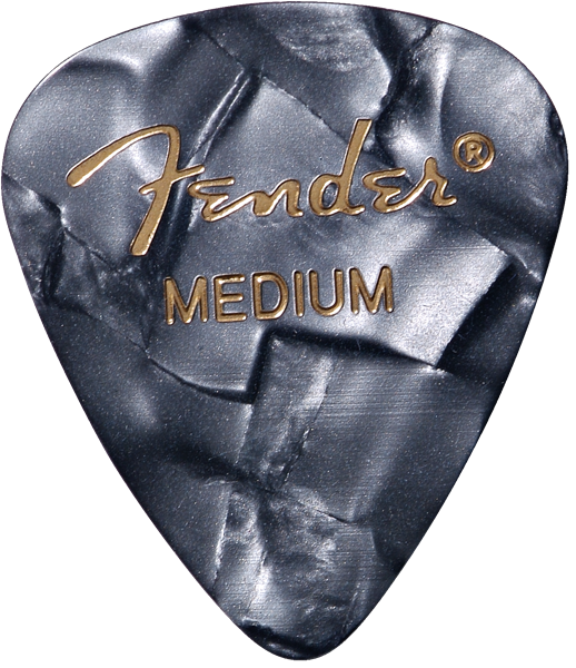 Fender Premium Celluloid 351 Shape Picks, Medium, Black Moto, 12-Pack
