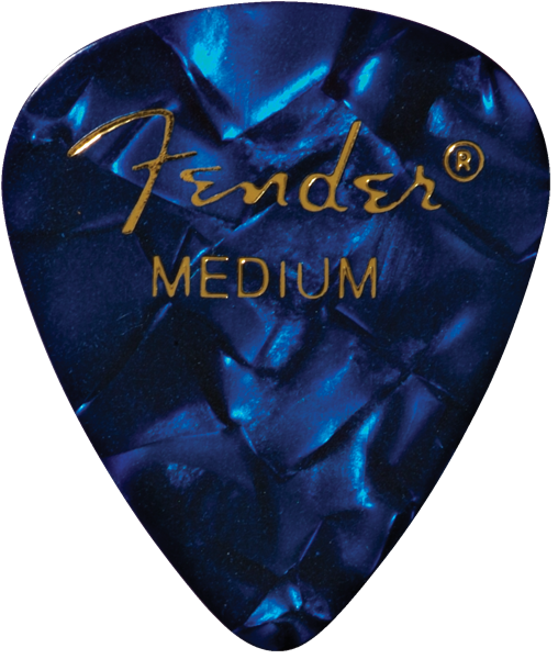 Fender Premium Celluloid 351 Shape Picks, Medium, Blue Moto, 12-Pack