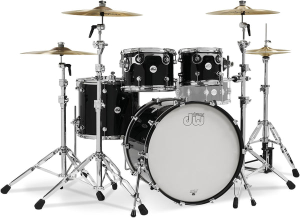 DW Design Limited 4Pc acoustic drum kit in Piano Black with Chrome Hardware