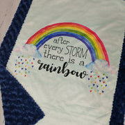 Designer Minky Blanket - After Every Storm there is a Rainbow