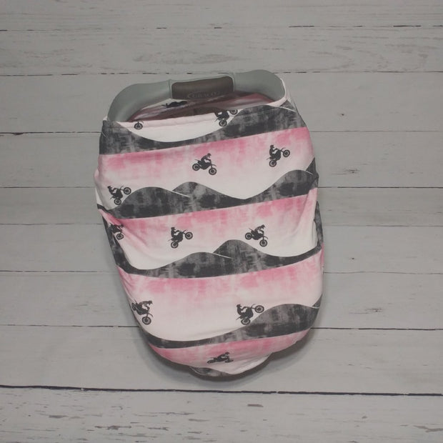 READY TO SHIP - Stretchy Car Seat Cover Designer w/Multi Season Liner - Motocross Pink
