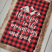 Designer Minky Blanket - Love you To The Mountains - Red Plaid