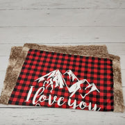 READY TO SHIP - Designer Minky Blanket - Love you to the mountains - Red Buffalo Plaid - Crib Size