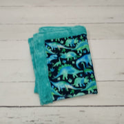 Designer Minky Blanket - Watercolor Dino - Blue