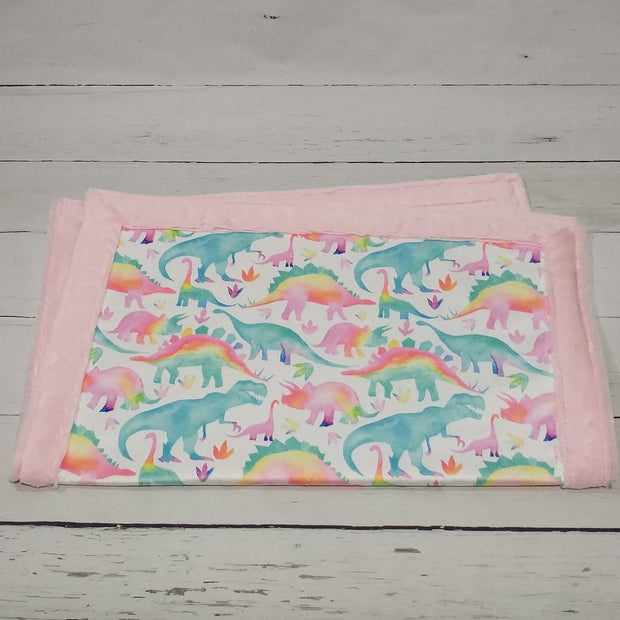 READY TO SHIP - Designer Minky Blanket -  Watercolour Dinos Pink - Baby Size