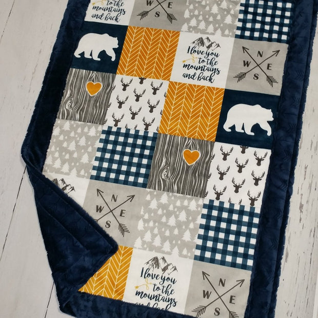 Designer Minky Blanket - Love you To The Mountains - Mustard & Navy