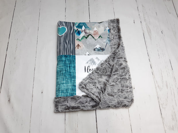Designer Minky Blanket - Mist in Mountains