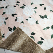 READY TO SHIP - Designer Minky Blanket - Vintage Blush Floral - Baby
