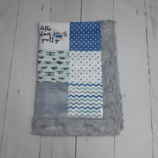 READY TO SHIP - Designer Minky Blanket - Oh the Places You'll Go - Planes - Baby