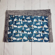 Designer Minky Blanket - Forest Peaks - Midnight Blue