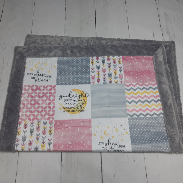 READY TO SHIP - Designer Minky Blanket - Goodnight said the Moon (Pink) - Baby Size