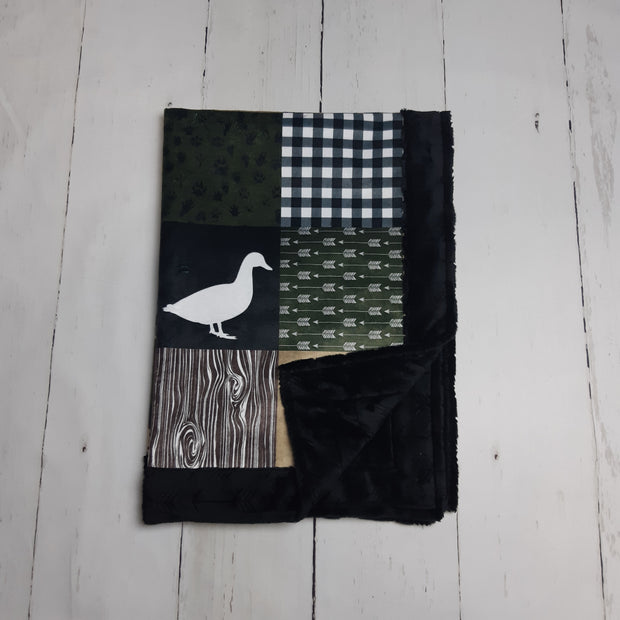 Designer Minky Blanket - Ducks and Trucks - Green