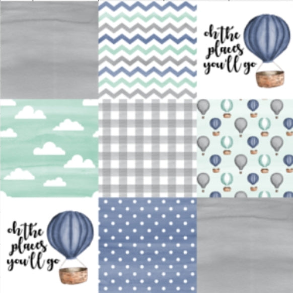 Designer Minky Blanket - Oh the Places you will go - Balloon - Blue