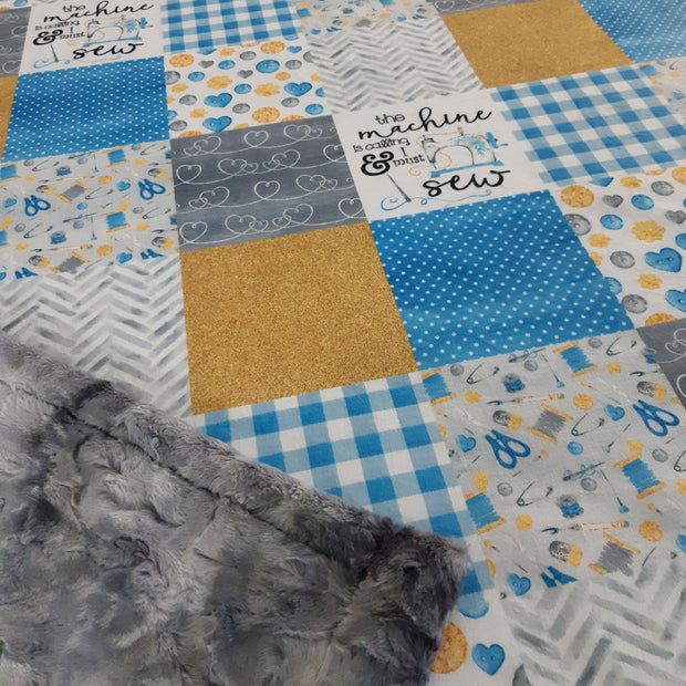 Designer Minky Blanket - The machine is calling & I must sew