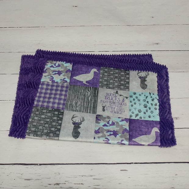 Designer Minky Blanket - Ducks and Trucks -Purple