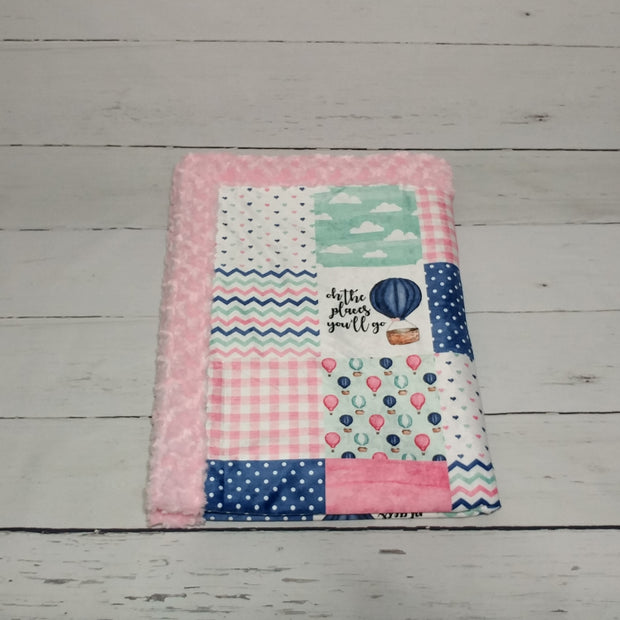 Designer Minky Blanket - Oh the Places you will go - Balloon - Pink