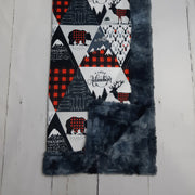 READY TO SHIP - Designer Minky Blanket - Rustic Triangle Patch - Baby