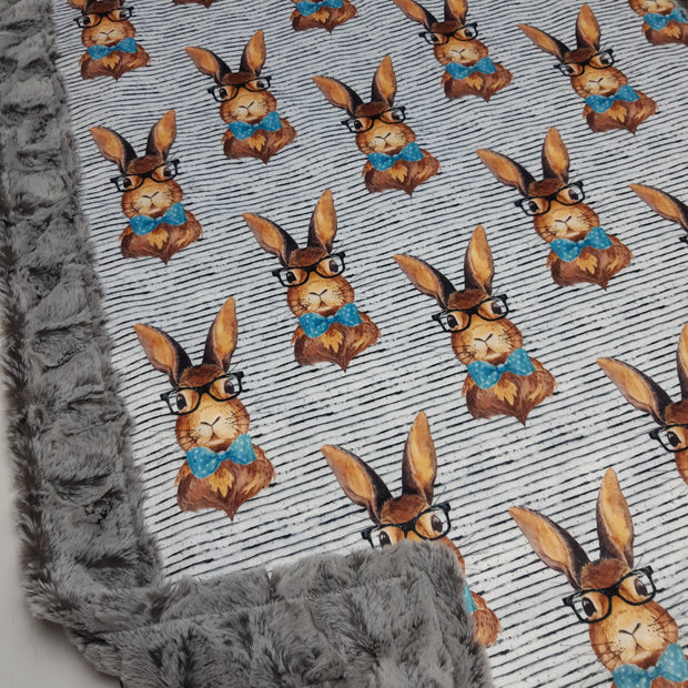READY TO SHIP - Designer Minky Blanket - Hipster Bunny - Baby