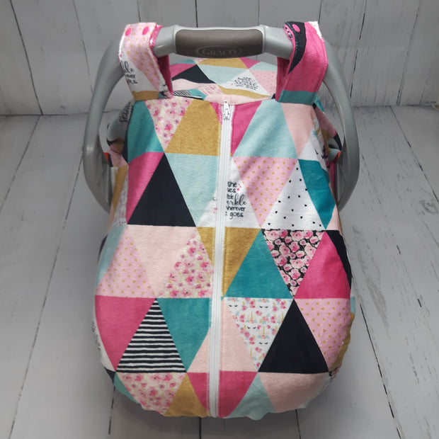 Zip Up Car Seat Cover - Triangle Patch Unicorn