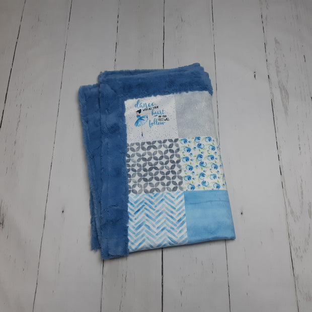 READY TO SHIP - Designer Minky Blanket - Blue Bell Ballerina - Baby