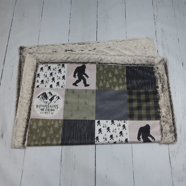 READY TO SHIP - Designer Minky Blanket - Big Foot - Baby