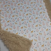 READY TO SHIP - Designer Minky Blanket - Holiday Deer Blush - Baby